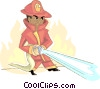 Vector Clip Art graphic  of a firefighter fighting a fire