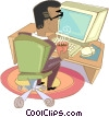Vector Clipart illustration  of a working at computer drinking