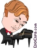 Vector Clip Art image  of a concert pianist