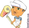 Vector Clip Art picture  of a painter with paint roller