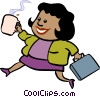 Vector Clip Art image  of a businesswoman with cup of