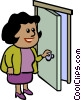 Vector Clip Art image  of a businesswoman opening a door