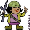 female soldier with a gun Vector Clip Art picture