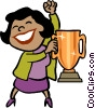 businesswoman with a trophy Vector Clipart picture