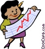 Vector Clip Art graphic  of a businesswoman examining a