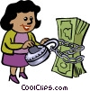 women trying to unlock money Vector Clipart image
