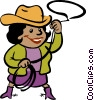 Vector Clipart graphic  of a Cowgirl