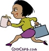 Vector Clip Art image  of a woman running late for meeting