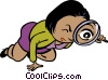 Vector Clip Art image  of a woman searching for clues