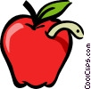 Vector Clip Art image  of an apple with a worm