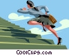 Vector Clipart picture  of a businesswoman running up the