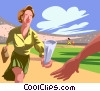 Vector Clipart image  of a businesswoman running the