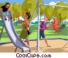 Vector Clip Art graphic  of a Children and parent playing in