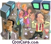 Vector Clipart illustration  of a traders on the stock market