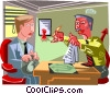 man making a deal with the devil Vector Clipart picture