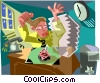 Vector Clip Art image  of a busy man working late at the