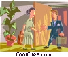 Vector Clip Art image  of a businessman and businesswomen
