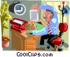 businessman working at his desk Vector Clipart illustration