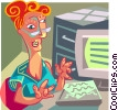 woman sitting at desk working on her computer Vector Clip Art graphic