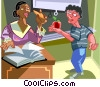 Vector Clipart illustration  of a Child giving his teacher an