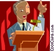 Vector Clip Art image  of a man standing at a podium