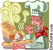 Vector Clip Art image  of a chef with his baked goods