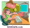 teacher helping a student in computer class Vector Clip Art image