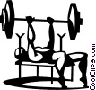 Vector Clipart graphic  of a man doing the bench press