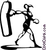 woman working out with a punching bag Vector Clipart picture