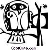 Vector Clipart graphic  of a owl sitting in a tree