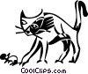 cat with a mouse Vector Clipart illustration