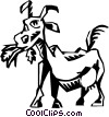 Vector Clipart image  of a milk cow eating grass
