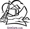 Vector Clip Art image  of a commercial fishing boat with
