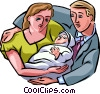 Vector Clip Art picture  of a new parents with a baby
