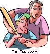 Father teaching his son to play baseball Vector Clip Art graphic