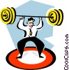 businessman with weights over his head Vector Clip Art picture