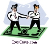 men shaking hands while standing on dollar bill Vector Clip Art picture