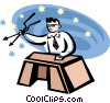 Vector Clipart image  of a man sitting at a desk