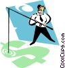 businessman fishing in a money pool Vector Clip Art image