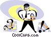 man with question marks and exclamation marks Vector Clip Art picture