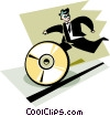 Vector Clipart graphic  of a businessman running after a CD