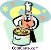 cook preparing soup Vector Clipart image