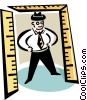 man standing in a doorway of rulers Vector Clip Art picture