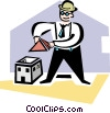 Vector Clip Art picture  of an architect building a model
