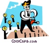 Vector Clipart graphic  of a businessman watering trees of