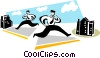 businessmen running between offices Vector Clipart illustration