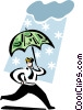 man running with an umbrella Vector Clipart illustration