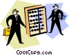 Vector Clip Art graphic  of a businessman standing beside an