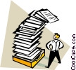 man looking at an overwhelming amount of paperwork Vector Clip Art image