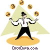 Vector Clipart image  of a businessman juggling balls